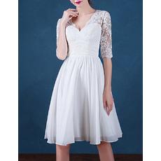 Women's Informal V-Neck Short Chiffon Wedding Dress with Half Sleeves
