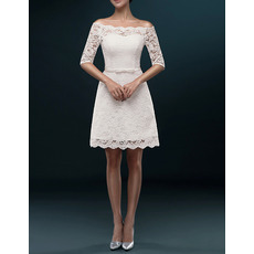Women's Casual Off-the-shoulder Short Lace Wedding Dress with Half Sleeves