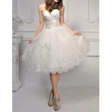 2018 Informal Modern Sweetheart Knee Length Satin Organza Wedding Dress