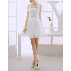 Custom Designer Informal A-Line Sleeveless Short/ Mini Tulle Satin Wedding Dress