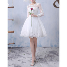 Discount Informal Ball Gown Short Tulle Wedding Dress with Long Sleeves