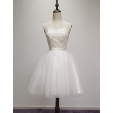 Informal Ball Gown Sweetheart Sleeveless Short Satin Wedding Dress