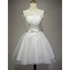 Custom Informal A-Line Sleeveless Short Lace Organza Wedding Dress