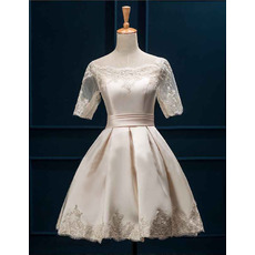 Discount Informal Off-the-shoulder Satin Short Wedding Dress with Half Sleeves