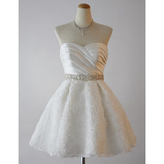 Casual Informal A-Line Sweetheart Short Wedding Dress with Floral Skirts