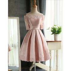 2018 Informal Off-the-shoulder Pink Short Wedding Dress with Half Sleeves