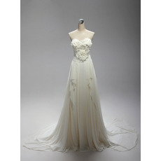 Beautiful Elegant Sweetheart Sweep Train Chiffon Wedding Dress with Ruffles