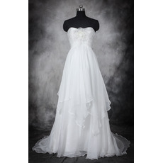 Romantic Empire Waist Sweetheart Long Organza Layered Skirt Wedding Dress