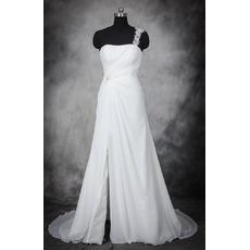 Modern Romantic One Shoulder Sleeveless Sweep Train Chiffon Plus Size Wedding Dress