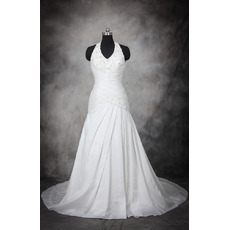 Discount Classy Sheath Halter Sleeveless Court Train Taffeta Plus Size Wedding Dress