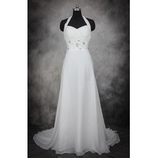 Elegant A-Line Halter Sleeveless Court Train Chiffon Wedding Dress
