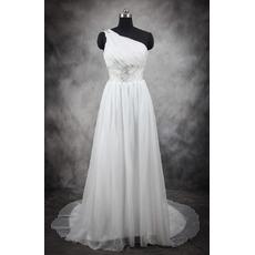 2018 Stylish Simple One Shoulder Sweep Train Satin Plus Size Bridal Wedding Dress
