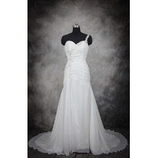 Custom One Shoulder Sweetheart Floor Length Satin Wedding Dress