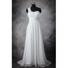 Elegant One Shoulder Sleeveless Sweep Train Chiffon Plus Size Wedding Dress