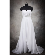 2018 Stylish Empire Waist Sweetheart Sweep Train Chiffon Plus Size Wedding Dress