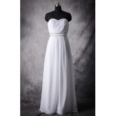 Classic Empire Sweetheart Sleeveless Floor Length Chiffon Plus Size Wedding Dress