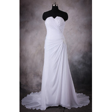 Affordable Custom Sheath Strapless Sweep Train Chiffon Plus Size Wedding Dress