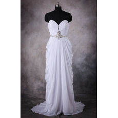 Women's Chic Column Sweetheart Sweep Train Chiffon Pick-Up Wedding Dress