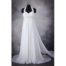 2018 Stylish Empire Waist Halter Sleeveless Sweep Train Chiffon Plus Size Wedding Dress
