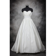 Custom Designer Ball Gown Sweetheart Court Train Satin Plus Size Wedding Dress