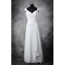 Discount Designer Sheath Sweetheart Floor Length Chiffon Wedding Dress