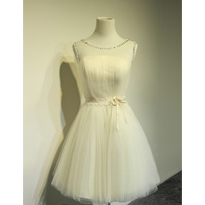 Custom Informal A-Line Sleeveless Satin Tulle Lace-Up Short Wedding Dress