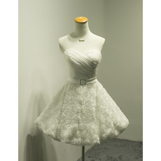 Affordable Informal A-Line Sweetheart Short Wedding Dress with 3D Flowers