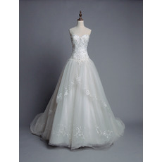 Women's Custom Ball Gown Sweetheart Chapel Train Organza Wedding Dress