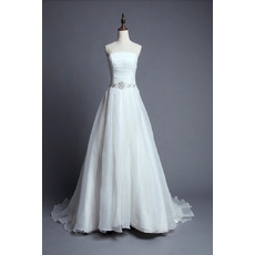 Inexpensive Fitted Strapless Court Train Organza Wedding Dress/ Gowns