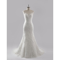 Custom Elegant Trumpet Court Train Chiffon Lace Wedding Dress/ Gowns