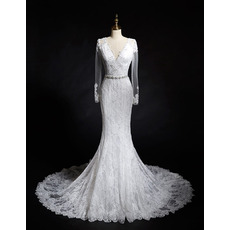 2018 Charming Sheath V-Neck Lace Wedding Dress with Long Sleeves