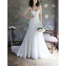 Discount Designer Romantic Sweetheart Sweep Train Wedding Dress with Straps