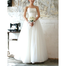 Women's Vintage Ball Gown Strapless Floor Length Tulle Wedding Dress