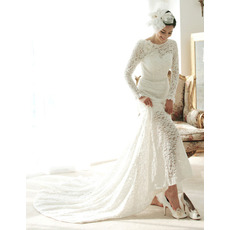 2018 Vogue Court Train Lace Wedding Dress with Long Sleeves