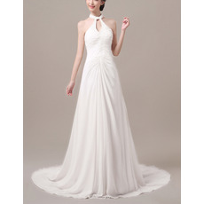 Modern Chic Sheath Halter Sleeveless Sweep Train Chiffon Wedding Dress