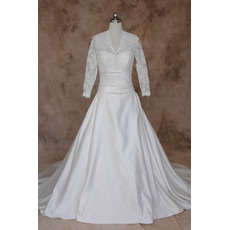 Women's Classic A-Line V-Neck Taffeta Plus Size Wedding Dress with Long Lace Sleeves