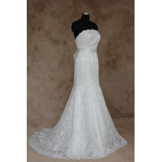 Women's Fashionable Sheath Strapless Long Lace Wedding Dress with Belts