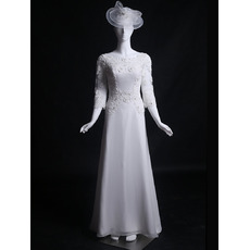 Women's Retro Classic A-Line Sweep Train Satin Long Wedding Dress with 3/4 Long Sleeves