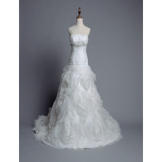 Inexpensive Luxury Strapless Chapel Train Floral Skirt Wedding Dress/ Gowns