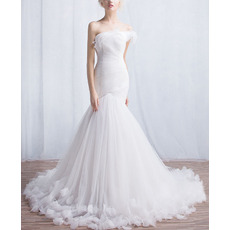 Designer Chic Mermaid Asymmetric Court Train Organza Wedding Dress