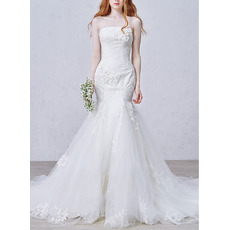 Affordable Luxurious Mermaid Strapless Chapel Train Applique Wedding Dress