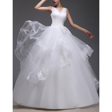 Custom Romantic Ball Gown V-Neck Floor Length Satin Organza Wedding Dress
