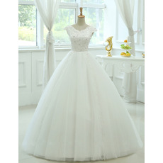 Cheap Classy Ball Gown V-Neck Floor Length Organza Wedding Dress