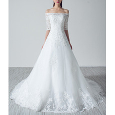 Cheap Classy Off-the-shoulder Organza Wedding Dress with Half Sleeves