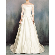 Custom Vintage Off-the-shoulder Satin Wedding Dress with Half Sleeves