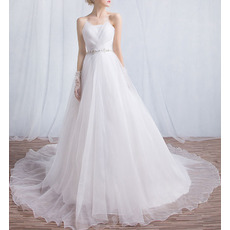 Classy Elegant Strapless Chapel Train Organza Wedding Dress