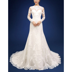 Latest Modern Sheath Long Organza Backless Bridal Wedding Dress with Long Sleeves