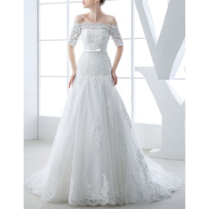 Modern Elegant Off-the-shoulder Organza Wedding Dress with Short Sleeves