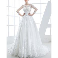 Custom Trendy Chapel Train Organza Applique Wedding Dress with Long Sleeves