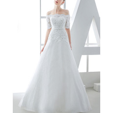 Inexpensive Amazing A-Line Off-the-shoulder Wedding Dress with Short Sleeves